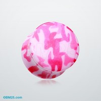Pink Camouflage Double Flared Ear Gauge Plug
