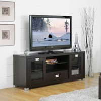 SAVE Baxton Studio Modern TV Stand with Glass Doors