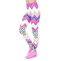 Zig Zag And Dashes Slim Aztec Leggings