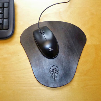 World of Warcraft Horde Leather Mouse Pad Mat. Crafted in the United Kingdom. WOW