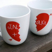 Half Heart  Personalized  set of 2 ceramic mugs by modernmadness