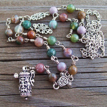 Prayer Box Pendant Necklace - Fancy Jasper  and Ocean Jasper Gemstone Silver Chain Link Necklace -