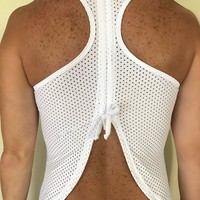 WHITE BOW MESH  ACTIVEWEAR TOP
