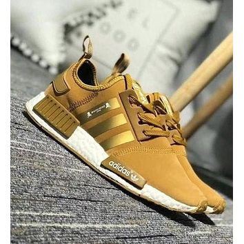Adidas NMD X OFF-WHITE Popular Unisex Leisure Running Sports Shoes Sneakers Gold I-CQ-YDX