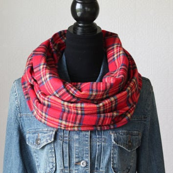 Red Plaid Infinity Scarf, Tartan Plaid Scarf, Flannel Scarf, Circle Scarf, Winter Scarf, Womens Scarf, Christmas Gift