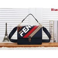 FENDI New Trending Women Handbag Leather Shoulder Bag Crossbody Satchel Blue