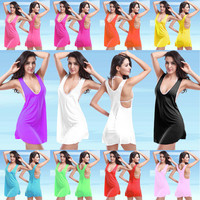 Women Sexy Beach Erotic Beach Holiday Top Women Tank Vest One Piece Dress _ 5637
