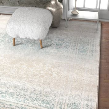 2916 Mint Blue Distressed Vintage Plush Persian Area Rugs