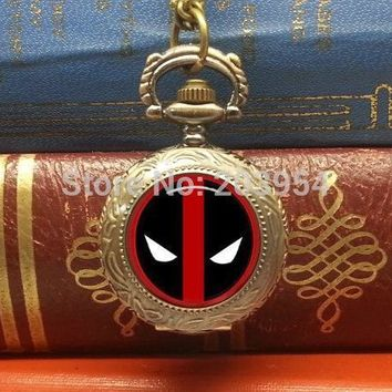 Deadpool Dead pool Taco Movie X-MEN  pocket watch necklace 1pcs/lot   hot sale 2016 xmas gift steampunk style handmade jewelry mens AT_70_6