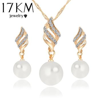 Jewelry Sets lace earrings Crystal Gold Plated Big Simulated Pearl