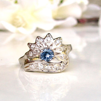 Vintage Engagement Ring 0.29ctw Diamond Wedding Ring 14K White Gold Retro Style Blue Stone & Diamond Cluster Anniversary Ring Size 5