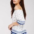 Ornate Floral Open-Shoulder Top