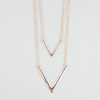 Full Tilt 2 Row V-Bar Necklace Gold One Size For Women 24232262101