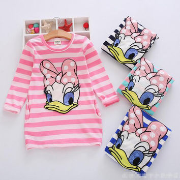 Girl Dress Stripe Cartoon Cute Children Dresses Side 2 pockets Cotton