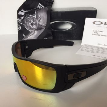 New Oakley Batwolf Polarized Sunglasses Matte Black/Fire Iridium Gun $220 Shield
