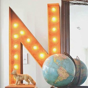 "36"" Letter N Lighted Vintage Marquee Letters (Rustic)"
