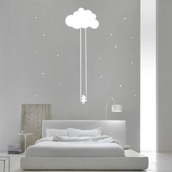 Wall Decor Vinyl Sticker Decal Girl Bedroom Dream Cloud Star Child Night Nursery Baby Swing Teeterboard Teeter-totter Flip-flap Sleep (s148)
