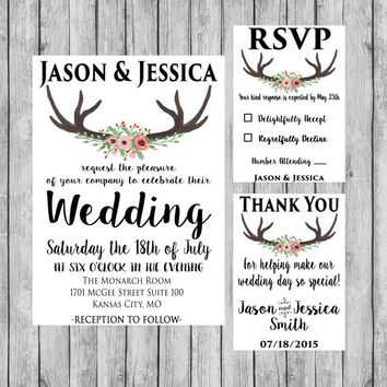 Rustic Wedding Invitation - Wedding Decor - Wedding Invitation - Digital File - Rustic Wedding Decor
