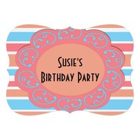 Orange Blue Striped Party Invites