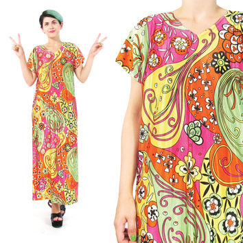1960s Psychedelic Dress 60s Hippie Dress Bright Floral Dress Flower Power Dress Colorful Print Dress Festival Short Sleeve Long Dress (M/L)