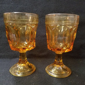 Amber Fostoria Jamestown Thumb Print Wine Glasses, Set of 2, Wine glasses 1960's Wine Glasses, Retro Barware (1134)