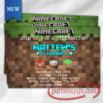 Minecraft Inspired 2 - Birthday Invitation - Digital File