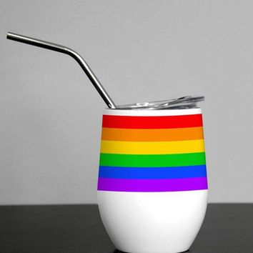 Pride Rainbow, Wine Tumbler, Gay Pride, Pride Party Decor, Retro Rainbow, LBGTQ, Coming Out Party, Travel Wine Tumbler, with lid, with straw, cup