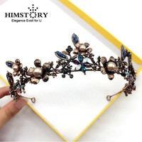 Bronze Pearl Black Flower Leaf Crown Bridal Wedding Jewelry Cosplay