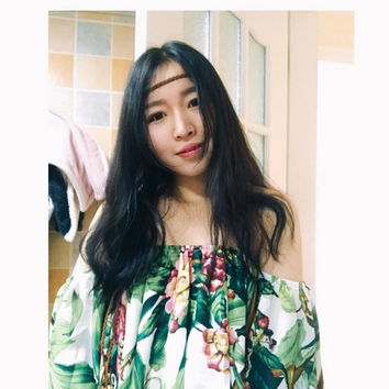 withered blouses women's summer chiffon shirt 2017a tropical rainforest printing slash neck sexy