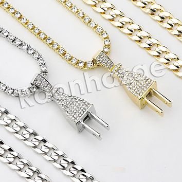 "Iced Out Micro Pave Electric Plug Pendant w/ 18"" Tennis / 30"" Cuban Chain X1"