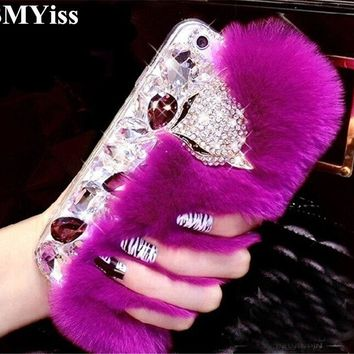 XSMYiss 3D Luxury Bling Diamond Rabbit Fur Case Fox Head Phone Case Cover For iphone X 4S 5S SE 5C 6 6s Plus 7 8 Plus