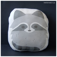Raccoon Pillow Plushie by littlepaperforest on Etsy