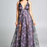 Midnight Organza Floral Dress