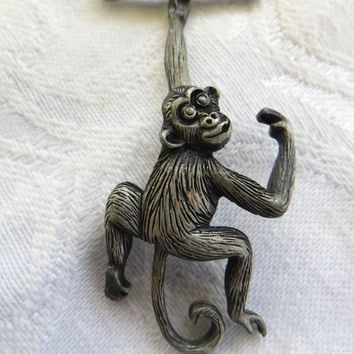 Vintage Funky Monkey Necklace, Swinging Monkey  with Swinging Tail Vintage  Monkey Jewelry