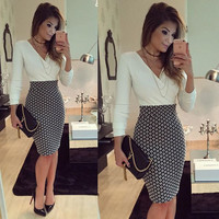 Long Sleeve Polka Dot Printed Mini Dress