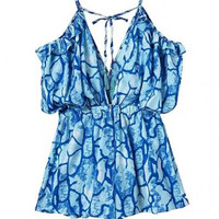 Blue Abstract Print Ruffled Tie String Romper