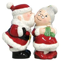 Westland Giftware Mwah Magnetic Santa and Mrs. Clause Salt and Pepper Shaker Set, 3-3/4-Inch