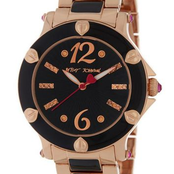 Betsey Johnson | Women's Two-Tone Crystal Accented Bracelet Watch | Nordstrom Rack