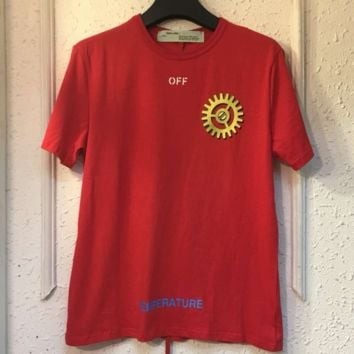 Off White New fashion before letter gear rack and back W gear rack letter print loose couple short-sleeved T-shirt top Red