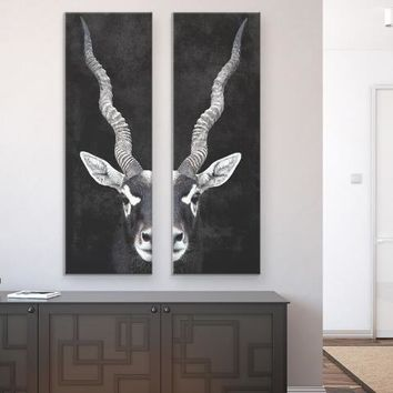 Antelope Portrait Diptych Canvas Wall Art Set Of 2