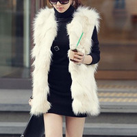 Faux Fur Zip Up V-Neck Vest Coat
