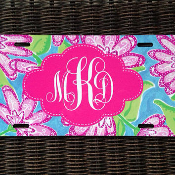 Personalized License Plate, Monogrammed Ca Accessory, Chevron Mix Monogrammed Gift, Car Tag