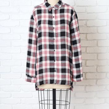 Red and Black Plaid Flannel Button-Up