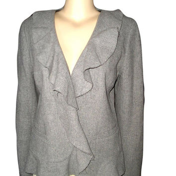 90s J CREW  Pale Grey Ruffled Light Wool Blazer Jacket Size 10