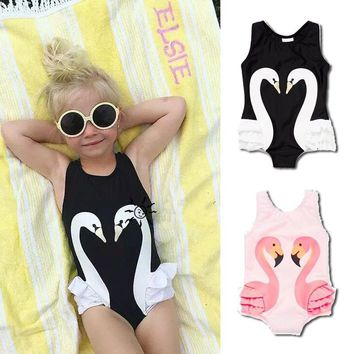Kids Girl Cute Little Swan Summer One-piece Swimsuits - Free Shipping