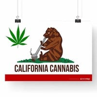 "CALIFORNIA STATE CANNABIS FLAG POSTER 13"" x 19"""
