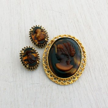 Vintage Florenza Cameo Earrings and Brooch - Gold Tone Signed Designer Brown Jewelry Set / Lady Silhouette