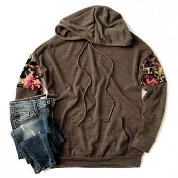 Olive Sweater Hoodie with Floral and Cheetah Sleeves