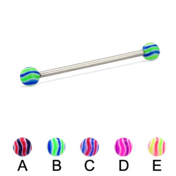 Long barbell (industrial barbell) with wave balls, 12 ga