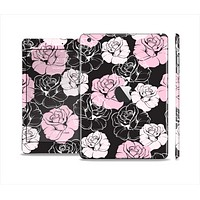 The Pink and Black Rose Pattern V3 Full Body Skin Set for the Apple iPad Mini 2